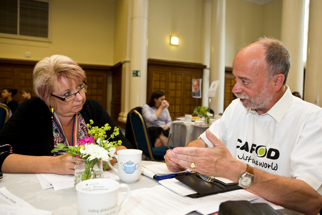 Karen Lumley, MP for Redditch, with CAFOD campaigner Jim Quinn.