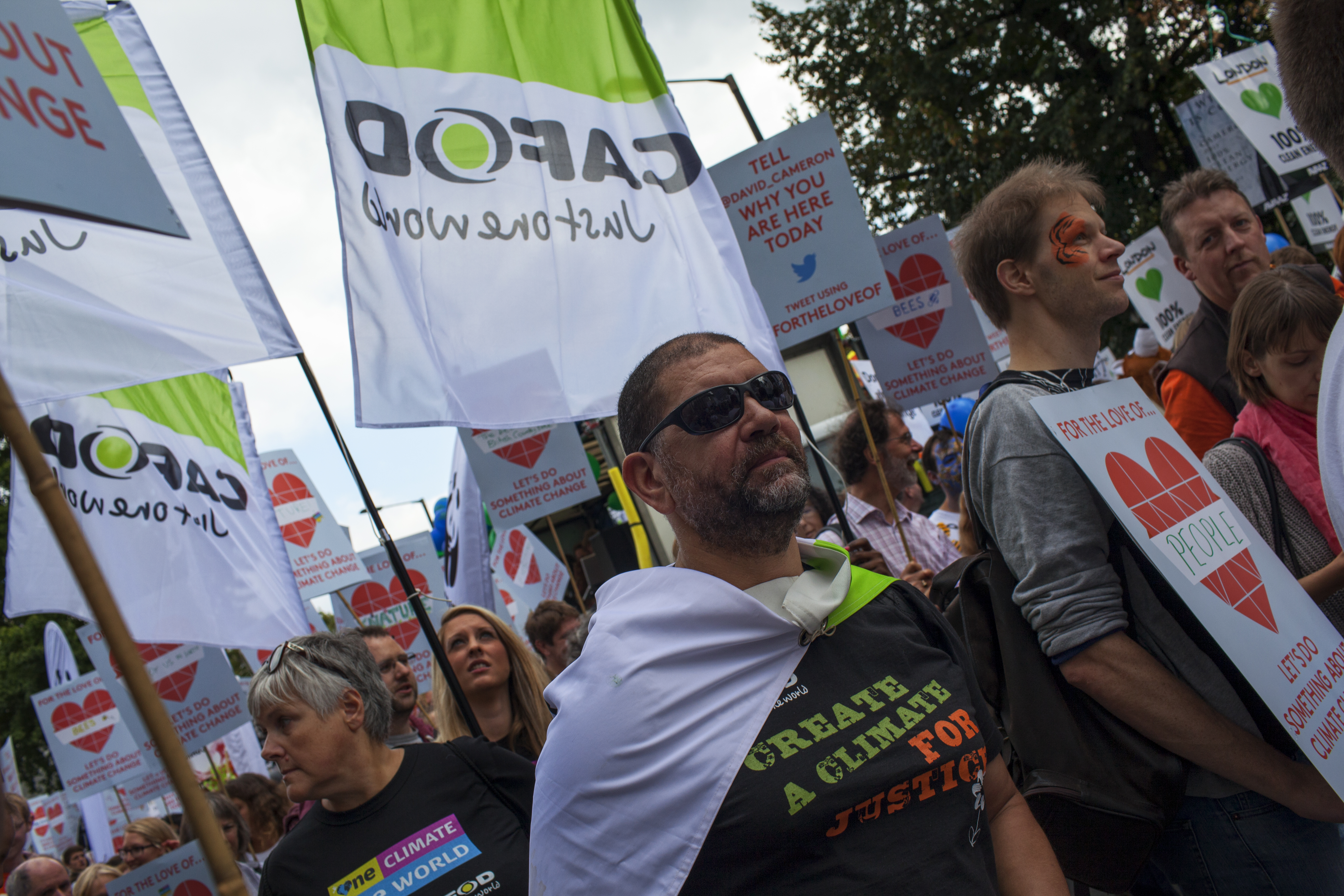 CAFOD supporters join a march against Climate Change