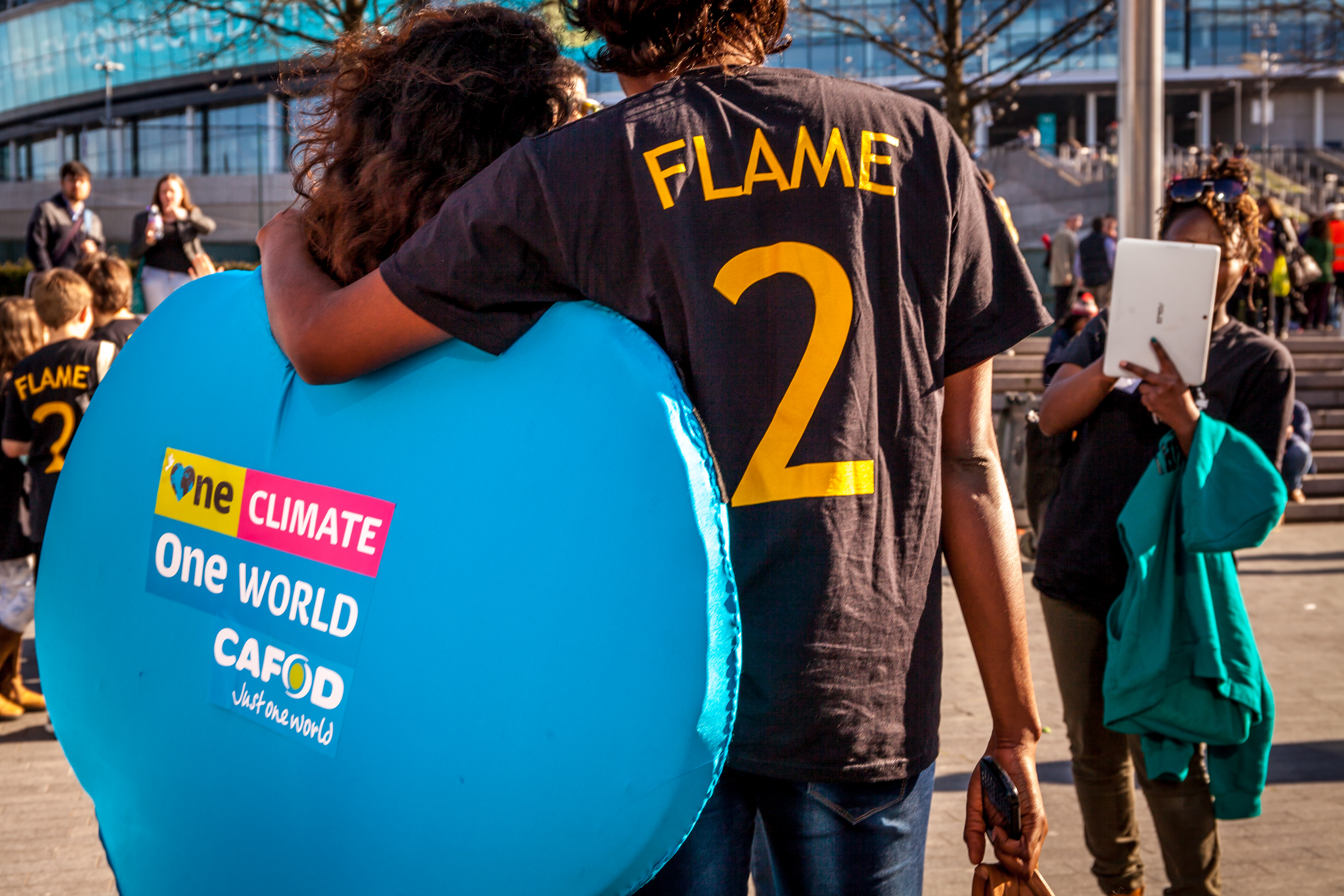 One Climate One World CAFOD heart costume at Flame2 Wembley