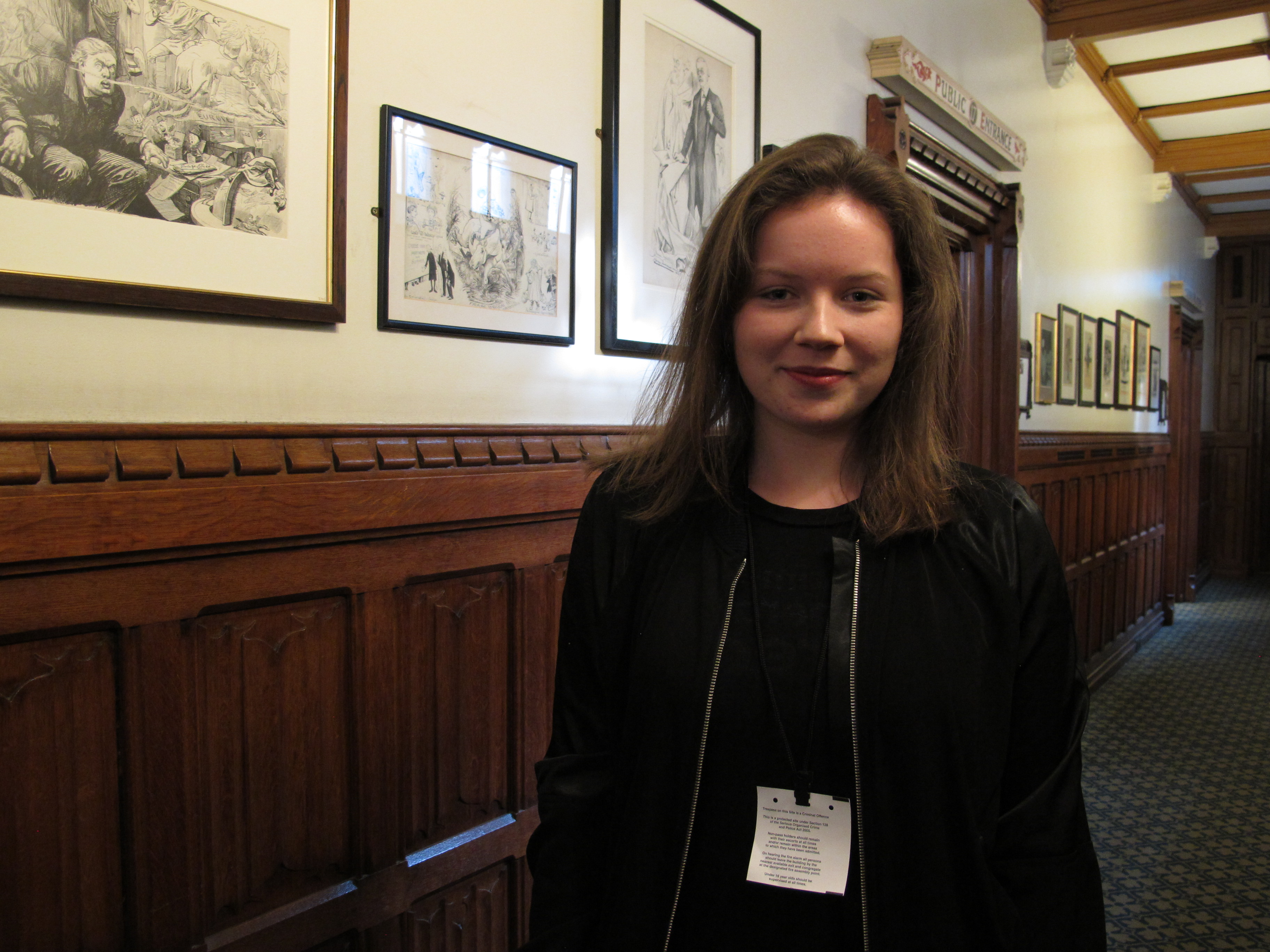 CAFOD supporter Amber in parliament