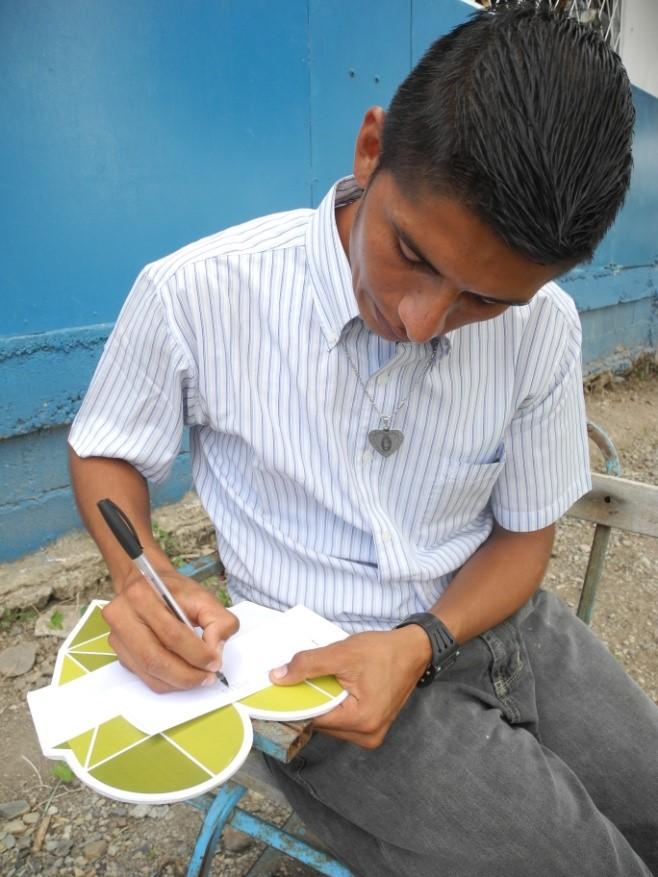 Lazaro Gutierrez in Santa Ana, El Slavador teaches his students how to care for the environment.
