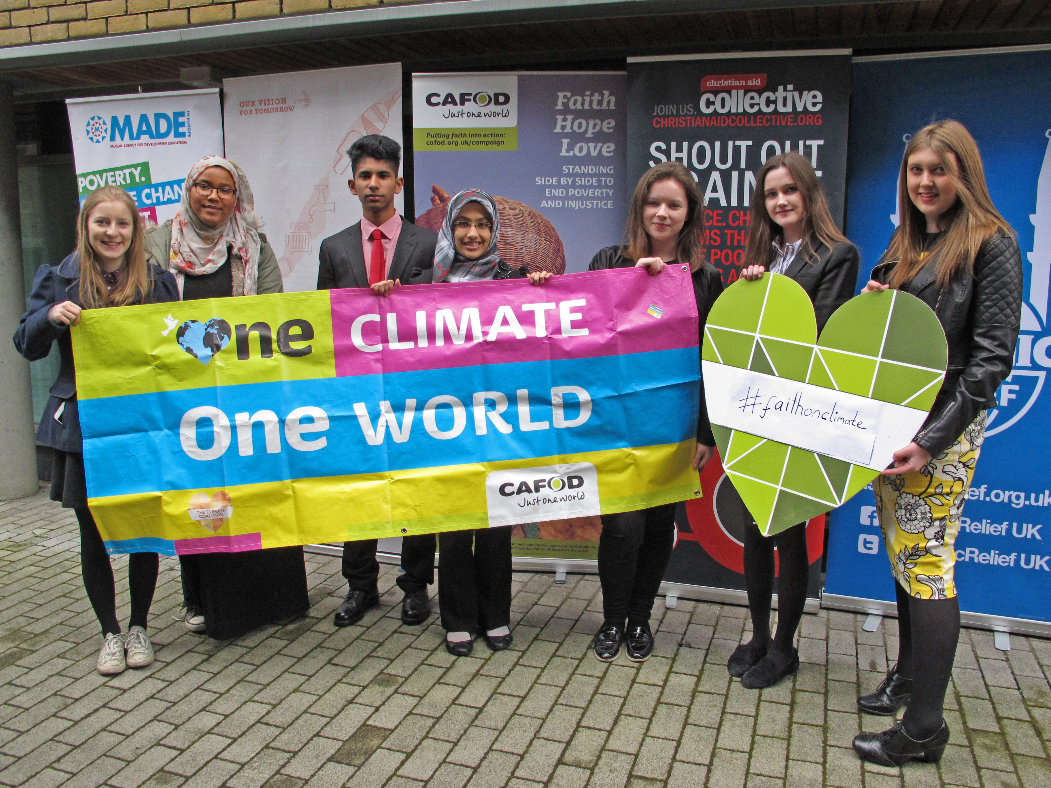 Olivia (second right) took part in the #faithonclimate lobby with other CAFOD young leaders