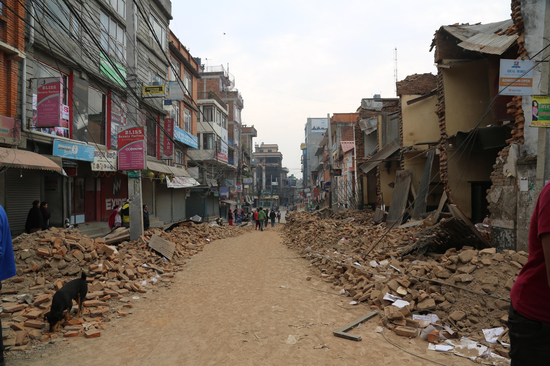 Collapsed buildings in Kathmandu
