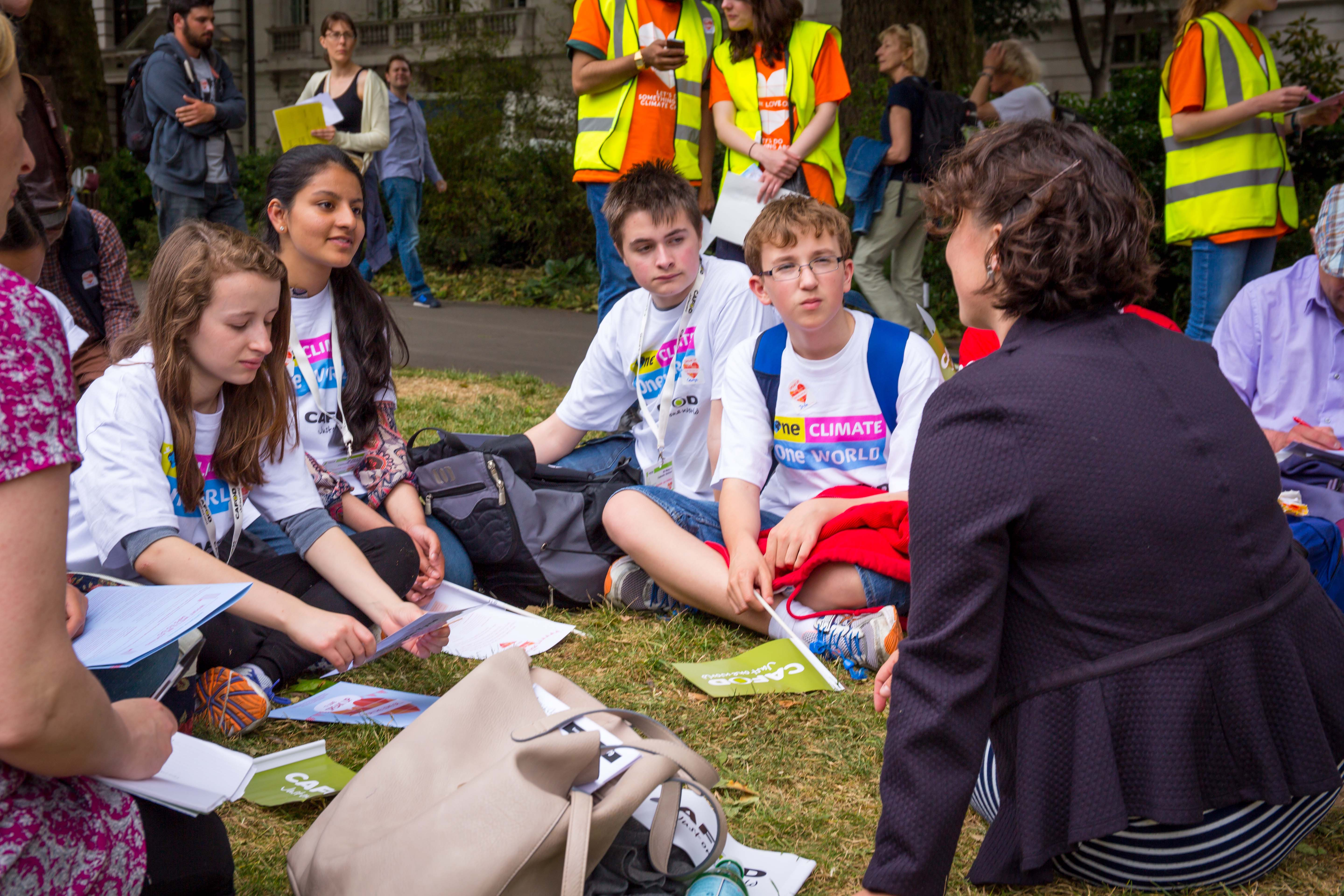 Young people at CAFOD climate lobby of parliament