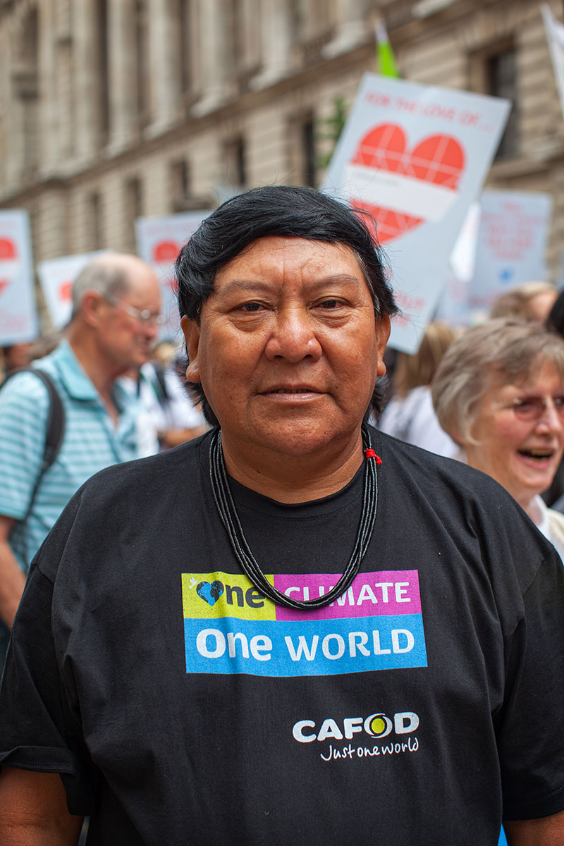 Davi marching with CAFOD supporters at the Climate Coalition march in September