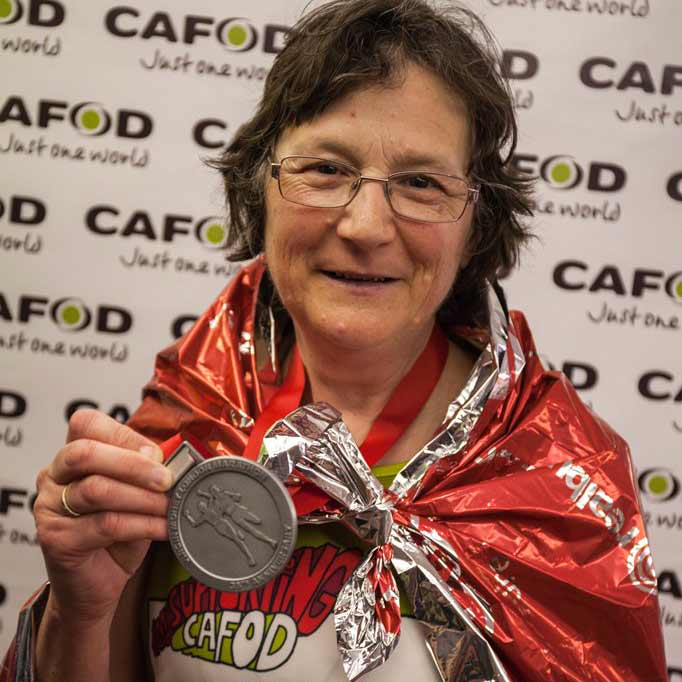 Rosemary after running the London Marathon for CAFOD in 2015