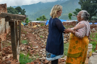 Jo meets Luma Kumari Nepal 83, whose life savings - money and jewellery - were inside her house when it collapesed