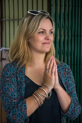 Jo Joyner gives a traditional Nepali greeting