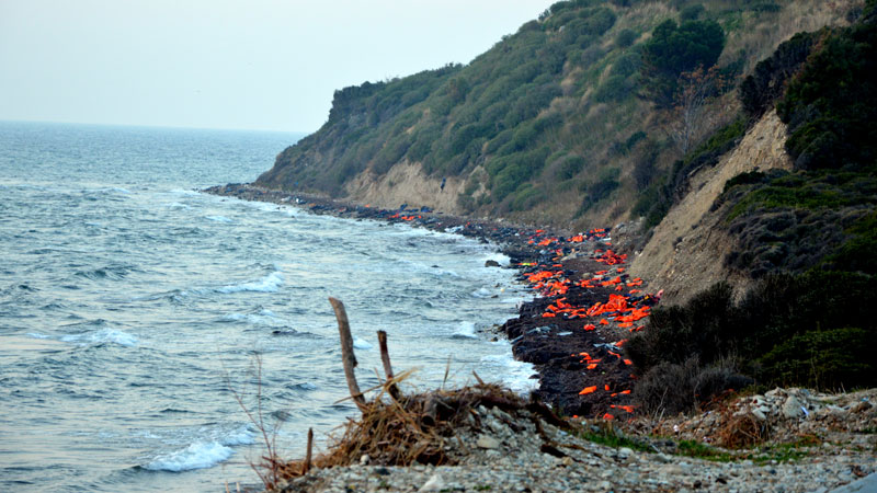 Abandoned life-jackets on a beach on Lesbos