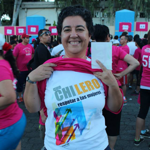 Montse participating in the Plan International Run for Girls Power Campaign in Managua, wearing a T-shirt made by our Guatemalan partner CALDH.