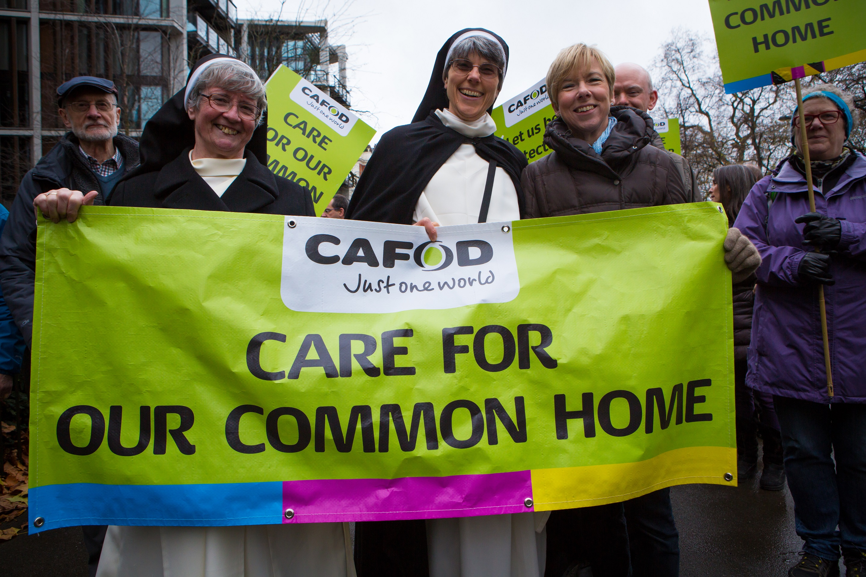 Sr Karen joined tens of thousands of people marching through London for action on climate change