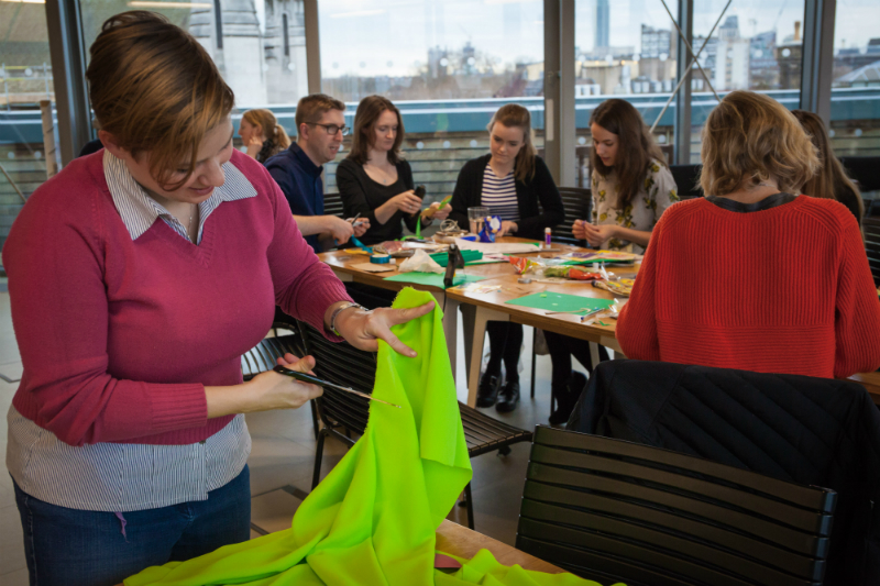 CAFOD colleagues craft their own green hearts