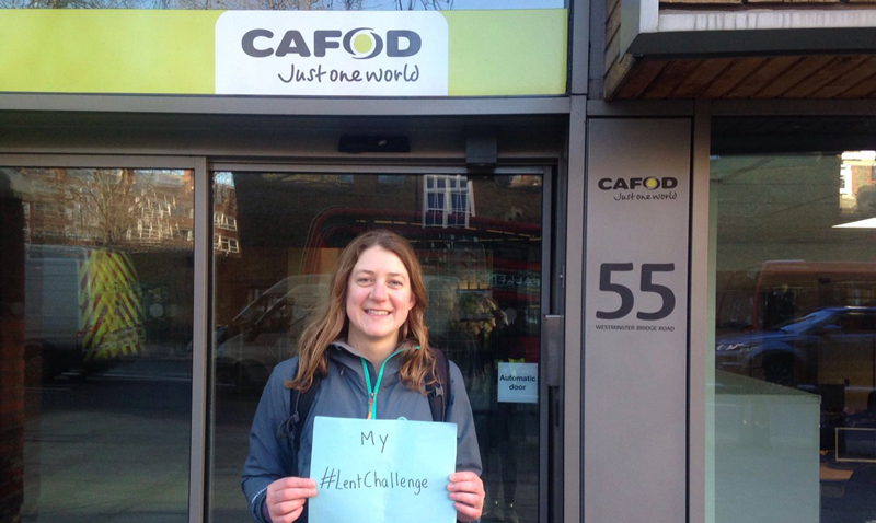 Laura at the end of her CAFOD Lent water challenge