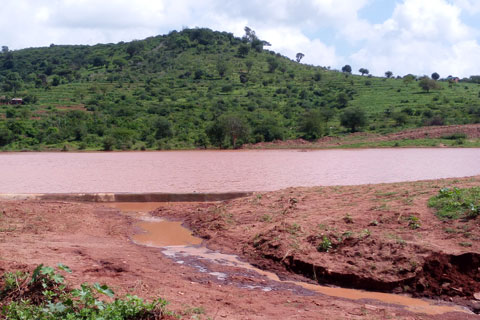 The Musosya dam is now clear of silt and debris and collecting water.