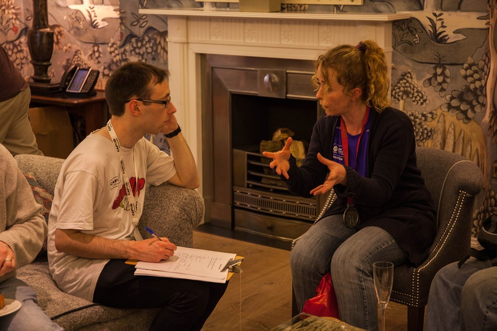 Liam interviewing CAFOD runner Emma at the London Marathon