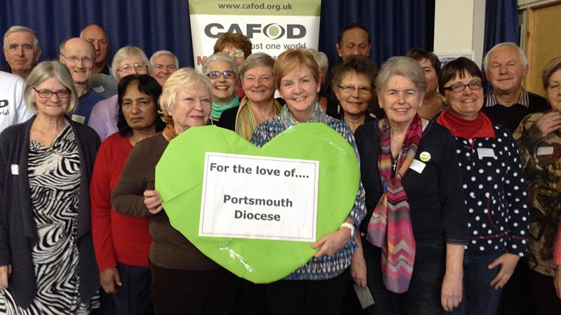Portsmouth CAFOD volunteers show their love at a supporter meeting