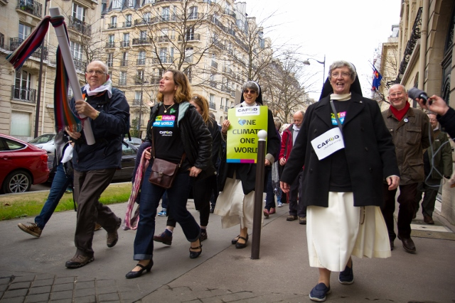 CAFOD campaigners took to the streets of Paris in response to Laudato Si'