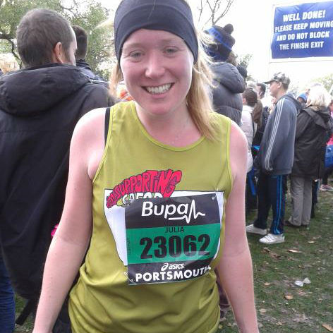 Julia from CAFOD's Youth Team finishing the Great South Run.