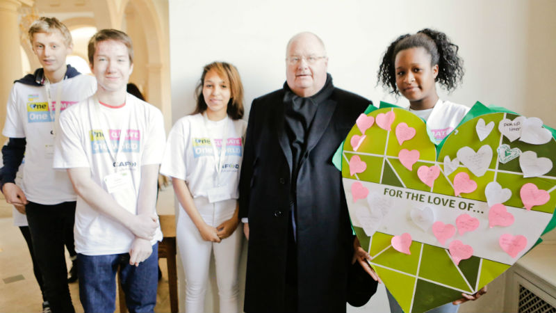 Sam (third from left) and other young climate bloggers lobby Eric Pickles, MP.