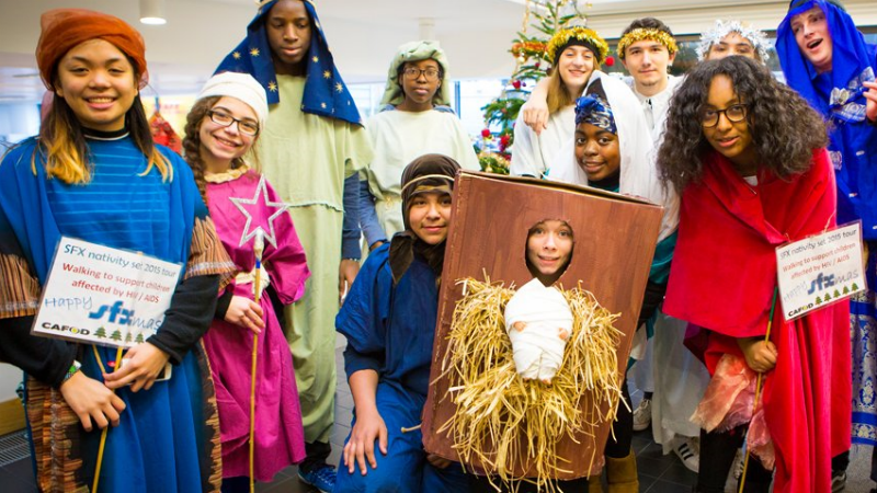Flavia and her friends on their nativity walk to raise money for World Gifts.