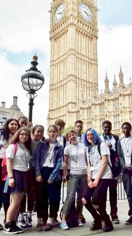 Flavia, with CAFOD young leaders, at to Parliament to lobby MPs on climate issues.