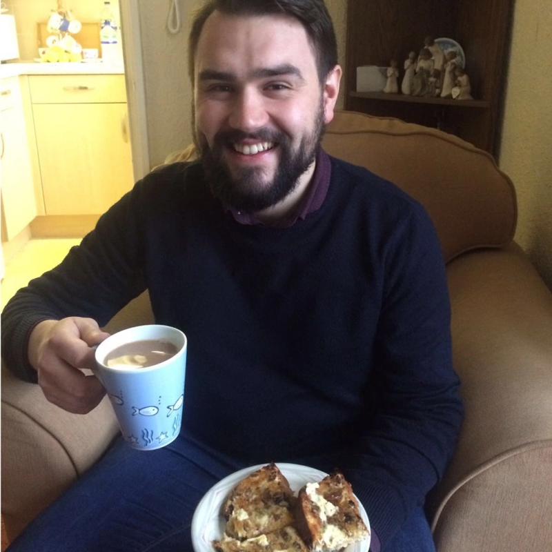 CAFOD's Tom has his first cup of tea since the start of Lent