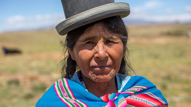 Susana on her land in the Altiplano, Bolivia.