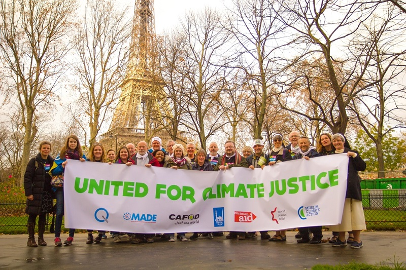 CAFOD campaigners at Paris climate change talks