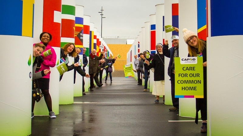 CAFOD campaigners outside Paris climate conference in December 2015