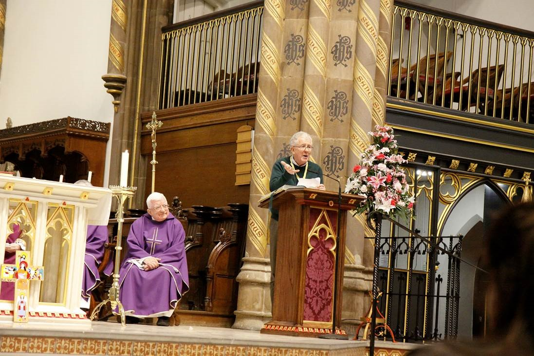 Trevor Stockton speaking at a Romero Mass in St Chad's Cathedral, Birmingham