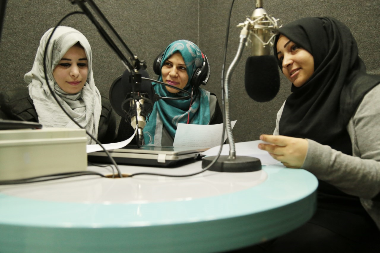 Young women working at the radio station in Khan Younis