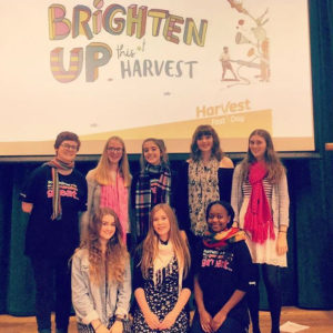 Young leaders from Portsmouth Diocese, spoke up for CAFOD this Harvest by running an assembly in their school. (Emily, front row, centre.)