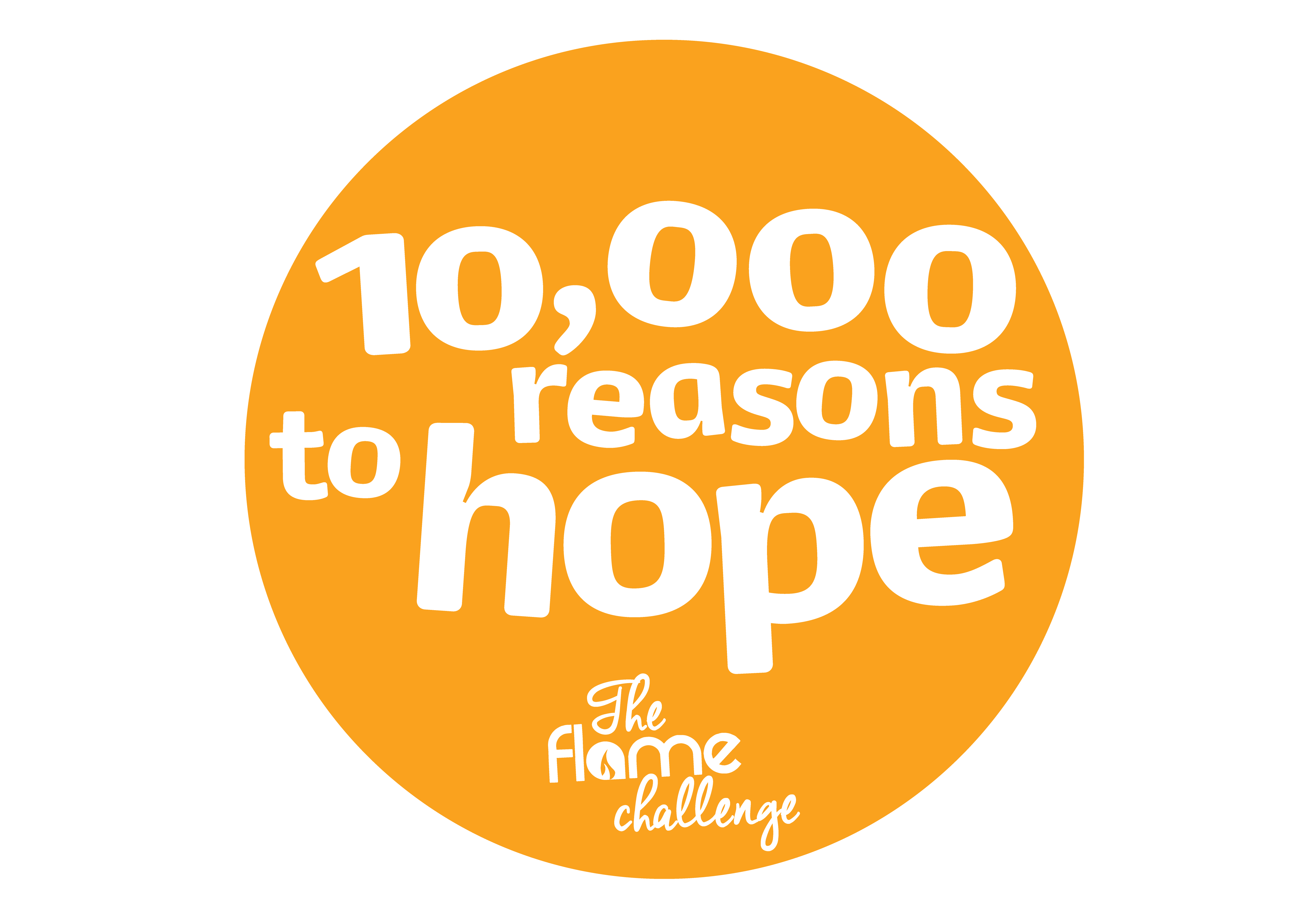 Orange circular logo reading: The Flame Challenge: 10,000 reasons to hope