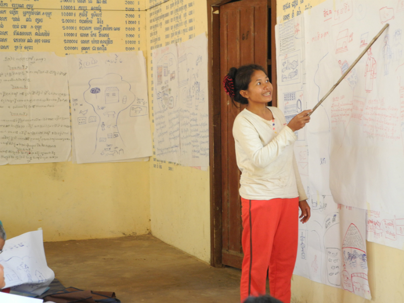Samorn is part of a self-help group formed by Srer Khmer, where the community learn the skills they need to create their own community and household plans.