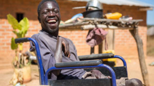 Mulenga in his wheelchair in Zambia