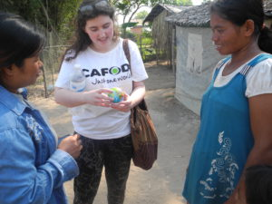 Charlotte, who is taking part in Step into the Gap, meeting Cambodian communities.