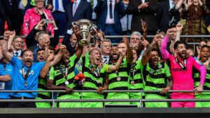 Forest Green Rovers Football Club raise the cup