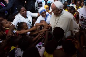 Pope Francis greets children in Nairobi, Kenya