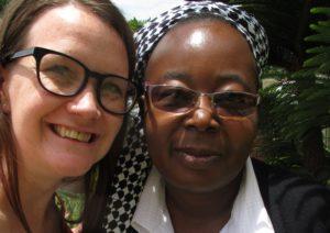 Hannah, CAFOD policy analyst with Sr Mathilde Mubanga in Zambia