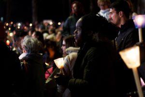 Sandra during the vigil at Fatima.