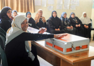 Palestine - Locking up the women's savings group money for safety.