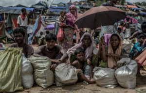 A group of new Rohingya arrivals wait for shelter and food in Balukhali refugee camp, Bangladesh.