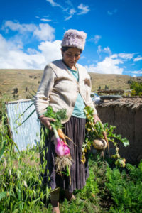 Rosa with her vegetable harvest, Bolivia