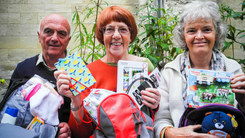 St John the Baptist Cathedral Livesimply and Justice and Peace members in Norwich have filled rucksacks for asylum seekers as part of their Emergency Rucksack Project, one of their livesimply activities.
