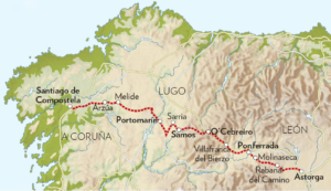 Map of the Camino de Santiago - a Catholic pilgrimage in Spain