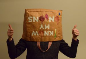 Jeremy with a shopping bag on his head
