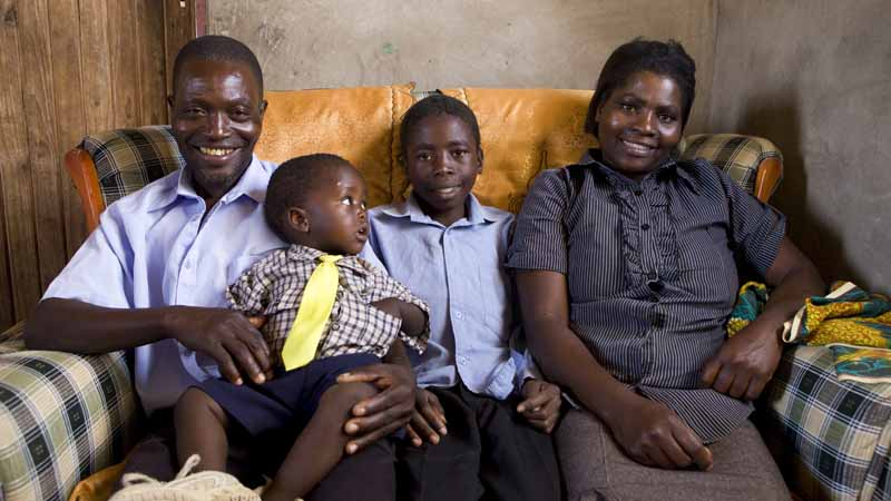 Marian with her husband Kiniel and sons Tawanda and Svondo in 2011