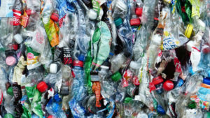 Hundreds of crushed plastic bottles