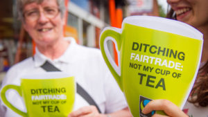 Sainsbury's Fairtrade protest in Waterloo - London