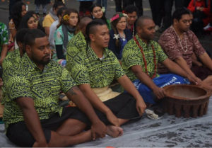 The Climate Warriors lead a traditional Kava ceremony - the drinking of a crop – Kava - native to the Pacific Islands - at COP23 - Conference of Parties - in Germany, 2017